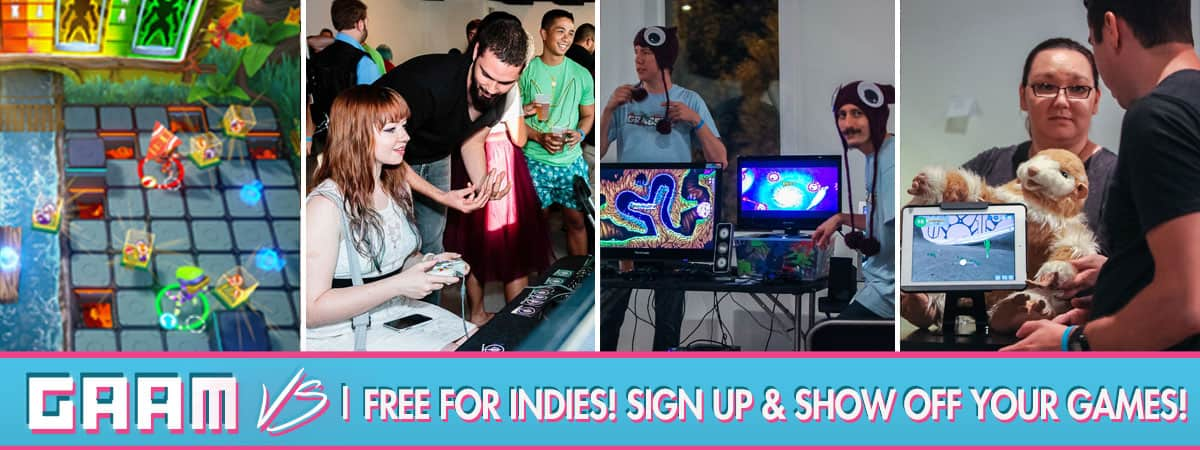 Indie Game Booths are free at GAAM