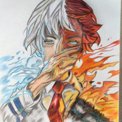"""Todoroki Shoto Color Pencil Art"" by Shambaditya Sarka"