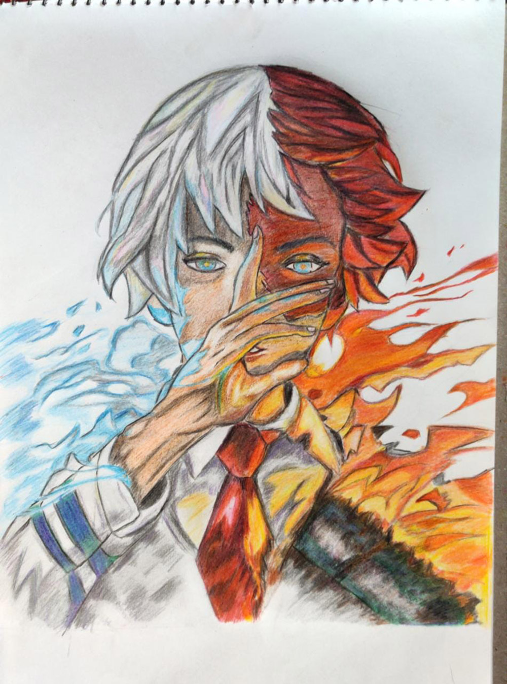 """Todoroki Shoto Color Pencil Art"" by Shambaditya Sarka"